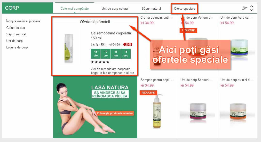 Oferta produse cosmetice naturale